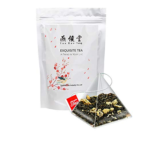 Yan Hou Tang Organic Taiwanese Jasmine Green Tea bags - 50 Counts Flower Flavor Taste Sugar Free Loose Spice Leaf for Detox Weight Loss relaxation and stress reduction relief SGS FDA Verified