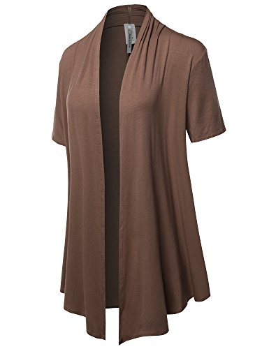- Solid Jersey Knit Draped Open Front Short Sleeves Cardigan Mocha 3XL