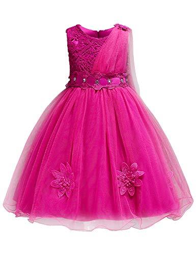 Blevonh Party Dresses for Girls,Children Wide Neck Sleeveless