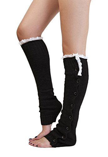 Sudawave Women Knitted Flat Button Down Crochet Leg Warmers with Lace Trim (Black) (Trim Petite Lace)