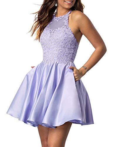 2 Piece Lavender Dress - NaXY Juniors Halter Sleeveless Applique Beaded Short Homecoming Dresses with Pockets Lavender Size 2