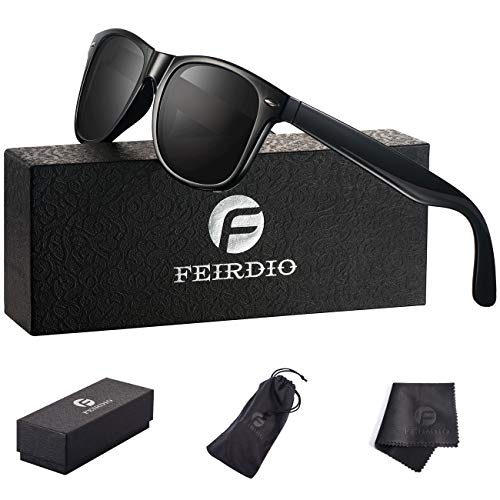 Polarized Sunglasses for Men and women - Feirdio Classic Retro Sun Glasses Pattern Frame Mens Sunglasses 2170 (Black ()