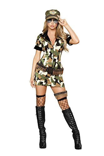 [3 Piece Army Babe Camo Mini Dress w/ Accessories Party Costume] (Adult Army Brat Costumes)
