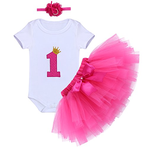 Baby Girl It's My 1st Birthday 3Pcs Outfits Skirt Set Romper+Tutu Dress+Headband Cake Smash Crown Bodysuit Clothes Jumpsuit #2 Rose One -