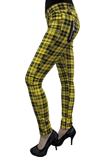 Women's Plaid Tartan Emo Punk Skinny Trousers Size 26-40 (30 Waist, Yellow) ()