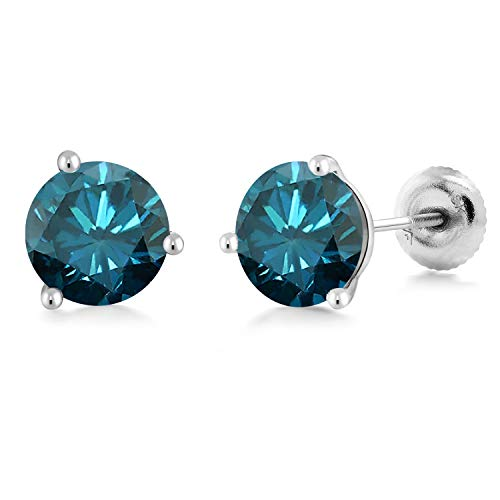 1.60 Ct Round Blue SI1-SI2 Diamond 18K White Gold Stud Earrings from Gem Stone King