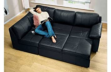 Alonza Corner Suite / Sofa Bed - Black Leather Sofa LH ...