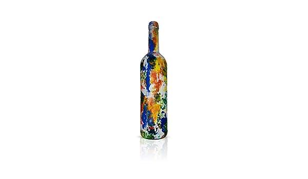 Botellas con suerte - Decoración Botella de Vino Reciclada Pintada a Mano de 31 cm: Amazon.es: Hogar