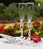 Hortense B. Hewitt Wedding Accessories Love Knot Champagne Toasting Flutes, Set of 2