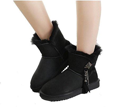 Damen warme Winter gepolstert Mini Schaffell Stiefel(Eine Größe zu klein) , 5 , 40