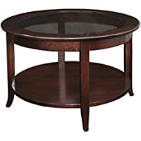 Solid Oak Chocolate Bronze Round Living Room Coffee Table