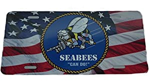 Seabees Logo on United States Flag License Plate 6 X 12 Inches New Aluminum from QUARKS
