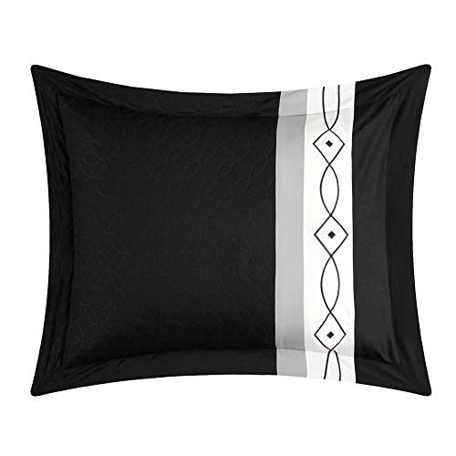 Chic Home Katrin 20 Piece Comforter Color Block Geometric Embroidered Bag Bedding-Sheet Set Pillowcases Window… 5