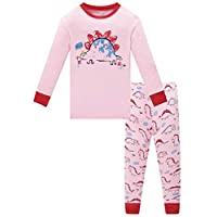 Family Feeling Dinosaur Big Girls Long Sleeve Pajamas Sets 100% Cotton Sleepwears Kids Pjs Size 10
