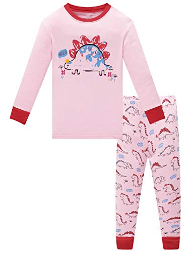 Family Feeling Dinosaur Little Girls Long Sleeve Pajamas Sets 100% Cotton Sleepwears Kids Pjs Size 7]()