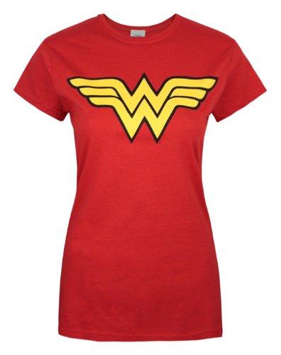 Wonder Woman Logo Ladies T Shirt, Red (Large) (Wonder Women)