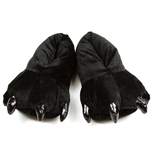 FashionFits Unisex Soft Plush Home Slippers Animal Costume Paw Claw Shoes Black M ()