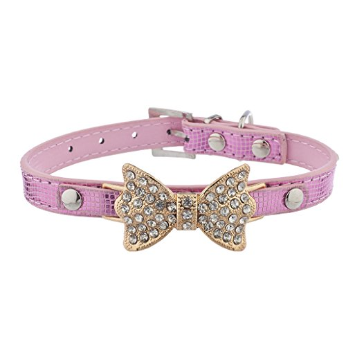 Lux Accessories Gold Tone Pink Pave Bow Sequin Fashion Pet Cat Dog Collar ()