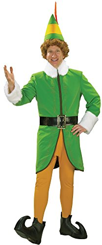 Buddy And Jovi Costumes (Rubie's Men's Buddy the Elf Deluxe Costume, Multi, X-Large)