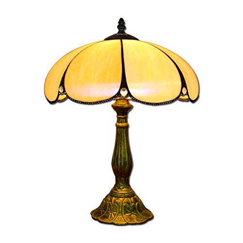EuSolis 12 Inch Beige Glass Tiffany Luxury Antique Bedside Table Lamps for Bedroom Living Room Art Deco Coffe Traditional Table Desk Edison Lamp 02