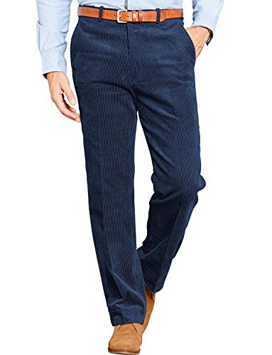 - Mens Corduroy Cotton Trouser Pants with Hidden Extra Waistband Navy 38W x 31L