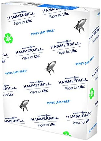 Hammermill Printer Paper, Great White 100% Recycled Paper, 8.5 x 11 - 1 Ream (500 Sheets) - 92 Bright, Made in america