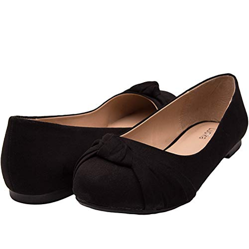 Luoika Women's Wide Width Flat Shoes - Comfortable Slip On Round Toe Ballet Flats(Black 180303,7) ()