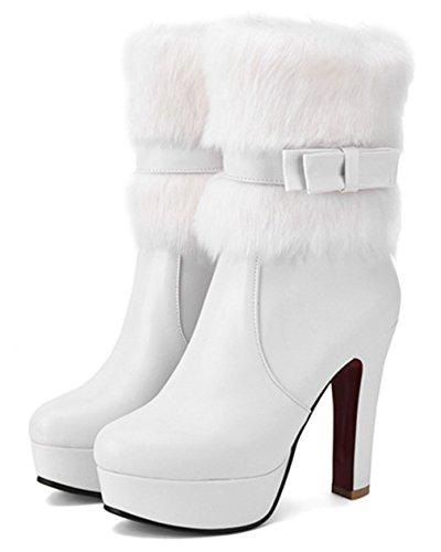 YE Damen Winter High Heel Halbschaft Stiefel Plateau mit Fell warm gefüttert Schleife und Reißverschluss 12cm Absatz wasserdicht Boots Weiß