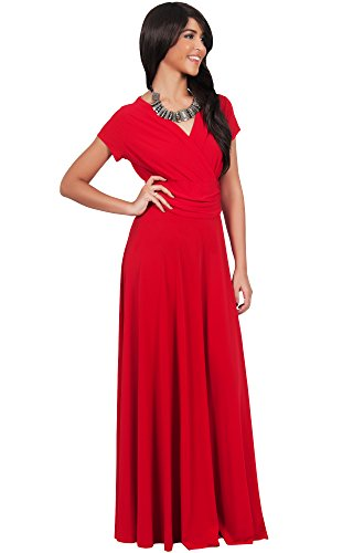 a591ef04c2e KOH KOH Womens Long Sexy Cap Short Sleeve V-neck Flowy Cocktail Gown  Pleated Slimming Summer Day Casual Wear to Work Office Classic Maxi Dress