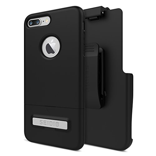 Seidio Surface Case and Holster Combo with Kickstand for Apple iPhone 7 Plus and iPhone 8 Plus (Black/Black) ()