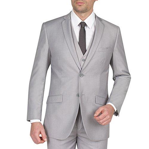 Tazio Mens Suit 2 Button 3 Piece Slim Fit Light Grey 38S - 3 Button Business Suit