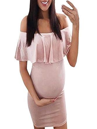 Ropa De Embarazadas Modernas YiYLinneo Falda de Lactancia Maternidad de Noche Camisón Mujeres Embarazadas Dormir Premamá Pijama Skirt Encaje: Amazon.es: ...
