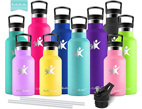KollyKolla Metal Water Bottle Vacuum Insulated Water Bottles with Straw & Filter Hot & Cold Drinks Bottle Stainless Steel Thermo Flask Leakproof Kids for Gym,Cycling,Football,(600ml Turquoise)