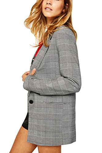 C2S Wome's Blazer One Piece Regular Fit Casual Plaid Long Suit WG001 (Grey, M) by C2S