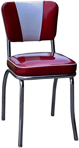 Amazon Com Richardson Seating Retro V Back Diner Chair With 2 Box Seat Glitter Sparkle Red Glitter Silver Chairs