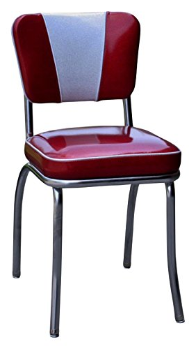 "Richardson Seating 4220ZBU Retro V-Back Diner Chair with 2"" Box Seat, Glitter Sparkle Red/Glitter Silver"