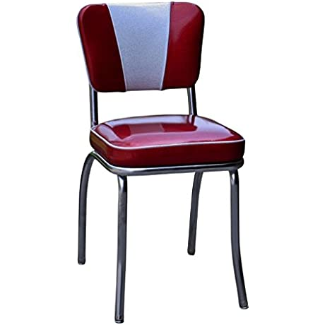 Richardson Seating 4220ZBU Retro V Back Diner Chair With 2 Box Seat NULL Glitter Sparkle Red Glitter Silver P