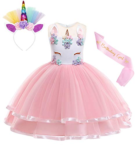 Cotrio Unicorn Costume Flower Girls Pageant Princess Party Dress with Headband 3-Pieces Rainbow Colourful Tutu for Birthday Halloween (6T, 5-6Years, Pink, 130) -