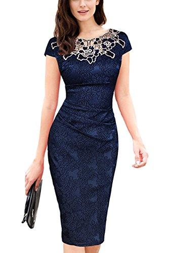 U8Vision - Vestido - Noche - para Mujer Azul Marino