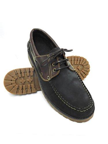 Zapato para caballeros naútico de piel con suela de goma flexible 100 % Piel de primera calidad Forro interior en piel PRECIOS DE REBAJAS - AHORA 0 NUNCA Tallas grandes XXL de la 47 a 50 azul marino