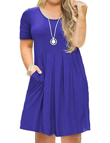 FOLUNSI Women's Plus Size Causal Loose Short Sleeve Simple Plain Swing Flowy T-Shirt Dresses Royal Blue 2XL