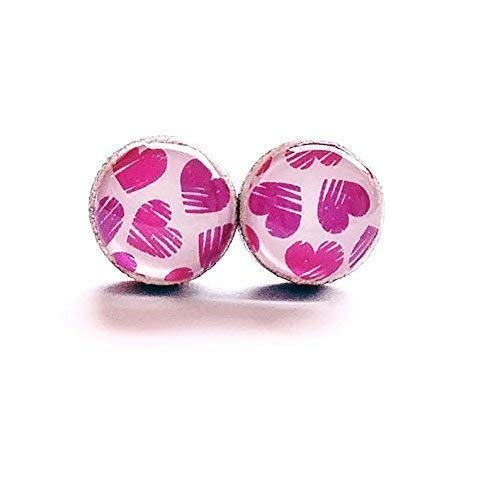 - Pink and purple scribble hearts with white background wood stud earrings 8mm