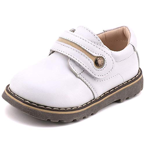 (Femizee Toddler Boys Leather Loafers Comfort Uniform Oxford Dress Wedding Shoes, White, 1327 CN28)