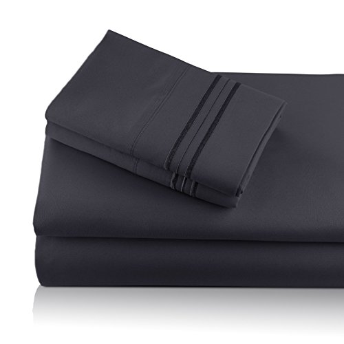 aravalli Bamboo Bed Sheet Set, Bradford Charcoal Black 4 Piece King Size Sheets, Deep Pocket Fitted Sheet with Flat Sheet & 2 Pillowcases Hypoallergenic Sheets w/Infused Aloe Vera ()