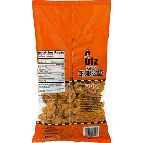 Utz Pork Rinds, BBQ Flavor - Keto Friendly Snack with Zero Carbs per Serving, Light and Airy Chicharrones with the Perfect Amount of Salt, 5 Ounce (Pack of 12)