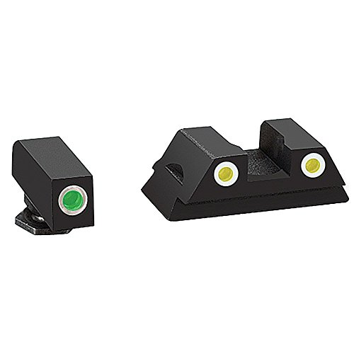 (AmeriGlo Glock 43 and 43 3 Dot Tritium Set Front/Rear Classic Sight, Green/Yellow/White)