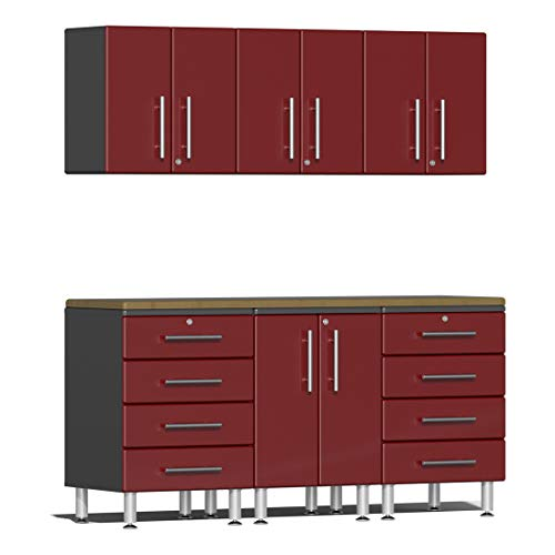 Ulti-MATE UG22072R 7-Piece Garage Cabinet Kit with Bamboo Worktop in Ruby Red - Piece 7 Garage Cabinet