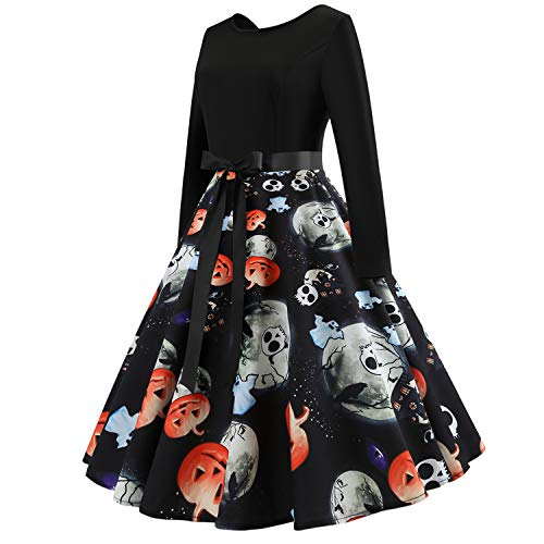 Casual Casa Halloween Girocollo Dress Abito Natale Party Donna Manica L Lunga Stampato GXYCP Vintage Per Wear Swing t67zxP7q