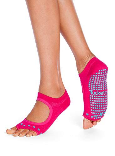 Tucketts Womens Yoga Socks, Toeless Non Slip Skid Grip Low Cut Socks for Yoga, Pilates, Barre, Studio, Bikram, Ballet, Dance - Allegro Style (Magenta Cacti)