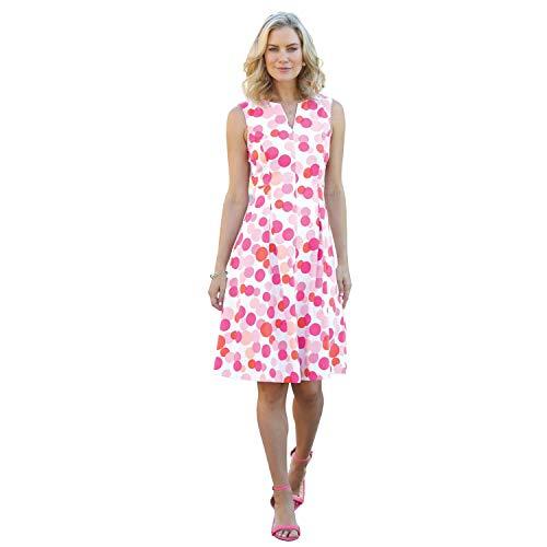 CHADWICKS OF BOSTON Women's Misses & Petite & Tall Size Printed Split Neck Fit & Flare Dress (Petite, Pink -